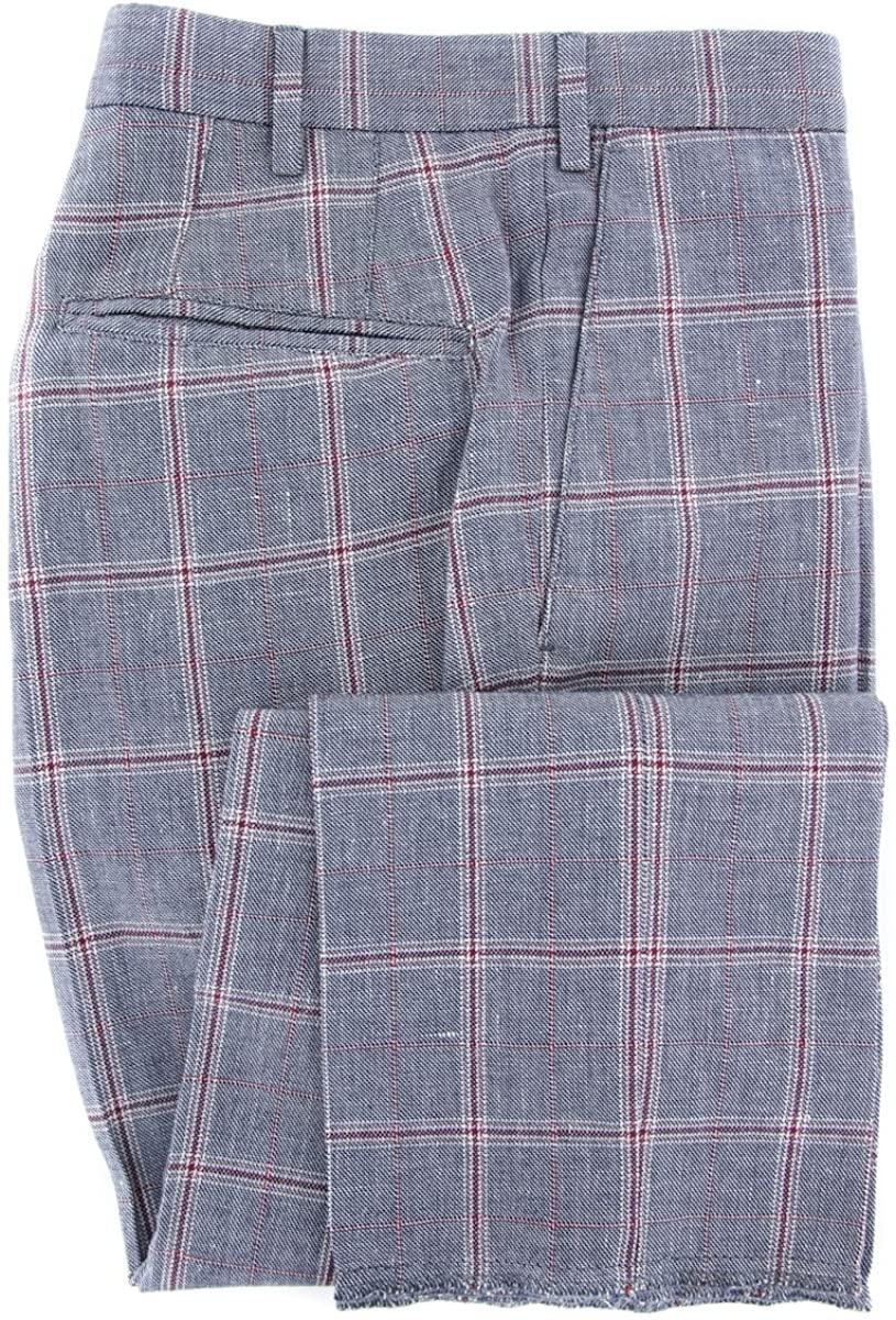 Incotex Navy Blue Window Pane Pants - Slim