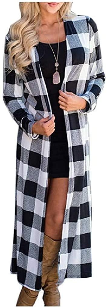 Women Jacket Long Sleeve Lightweight Casual Loose Plaid Cardigan