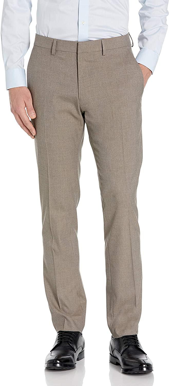 Kenneth Cole REACTION Men's Stretch Heather Herringbone Slim Fit Flat Front Flex Waistband Dress Pant