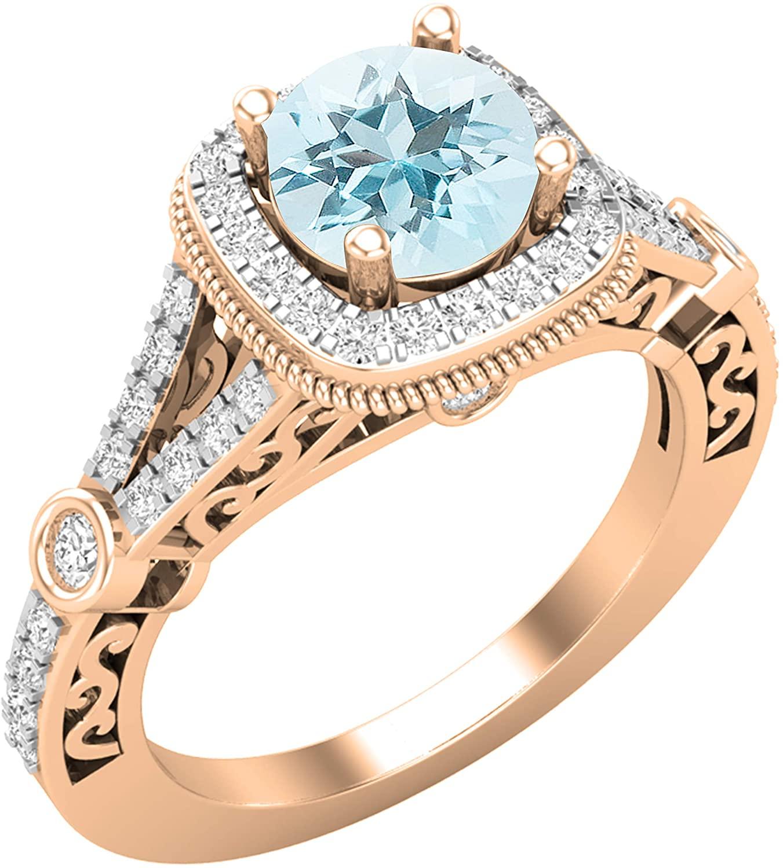 Dazzlingrock Collection 6 MM Round Gemstone & White Diamond Halo Style Split Shank Ladies Engagement Ring, Available in Various Gemstones in 10K/14K/18K Gold