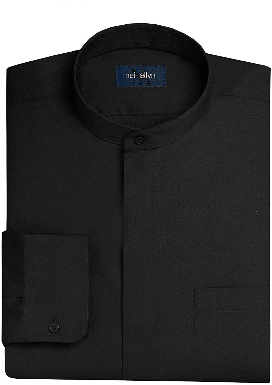 Neil Allyn Men's Black Banded Collar Dress Shirt-4XL