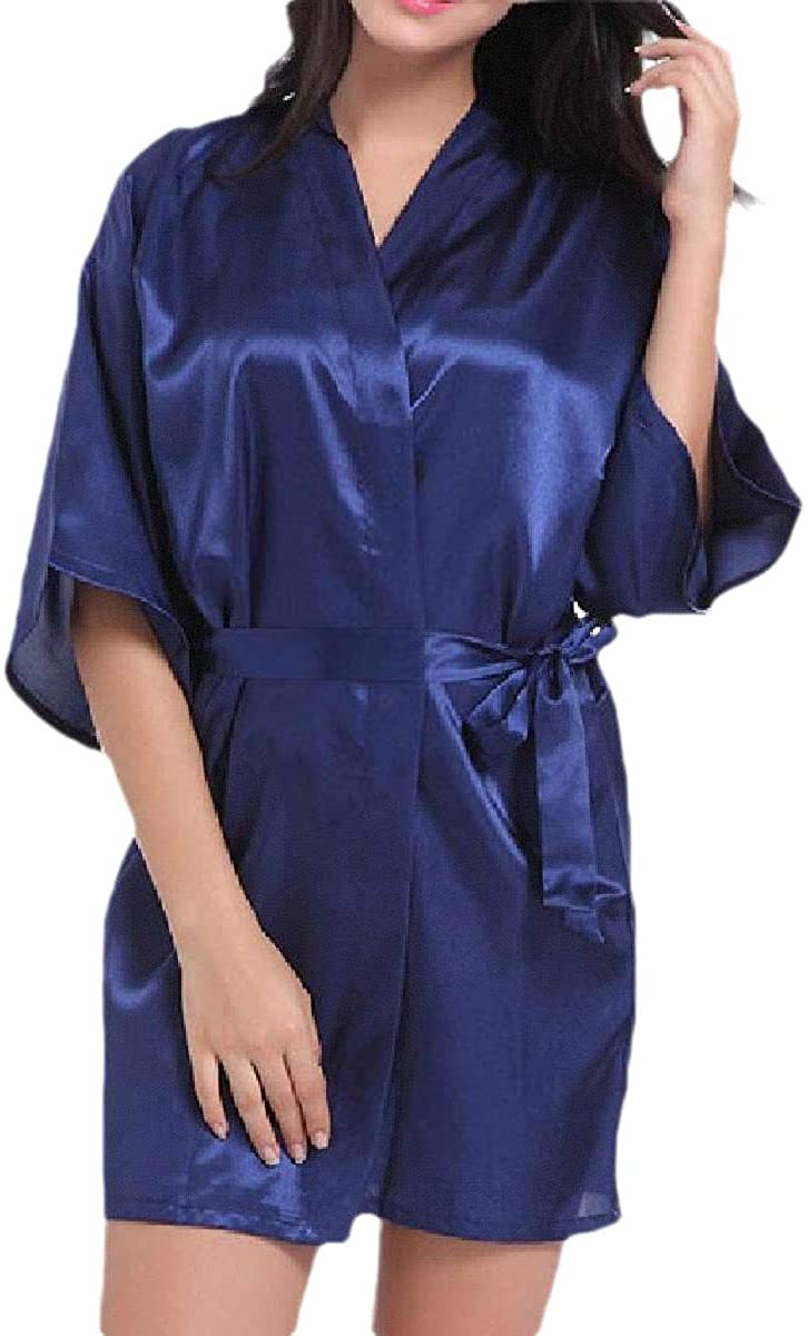Abetteric Womens Solid-Colored Mini Charmeuse Kimono Cardigan Sexy Pajamas