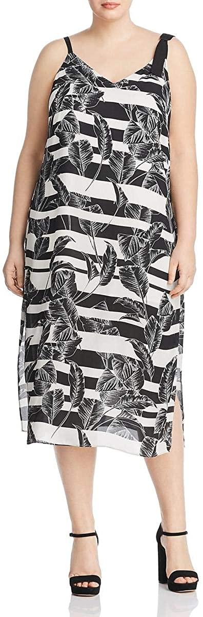 Vince Camuto Womens Plus Striped Floral Midi Dress
