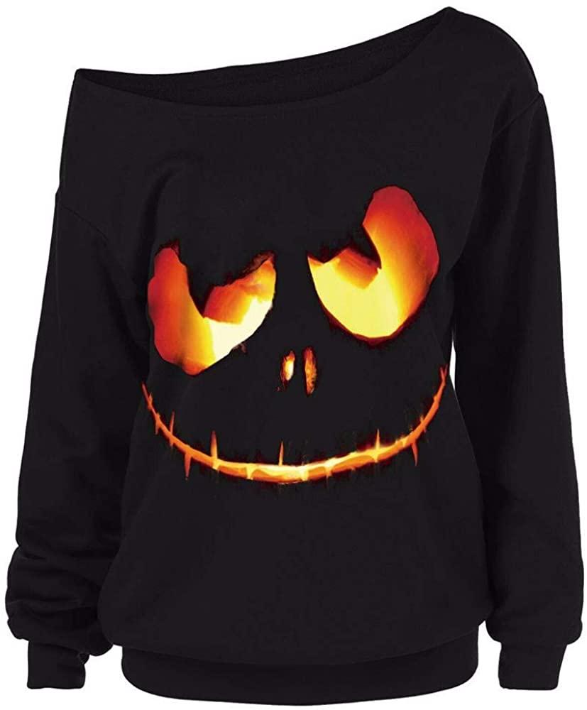 Amzeca Women Halloween Pumpkin Devil Sweatshirt Pullover Tops Blouse Plus Size Long Sleeve Crop Tops Warm Outwear Jacket Coat Casual Novelty Hoodies Fashion Sweaters Women's Shops