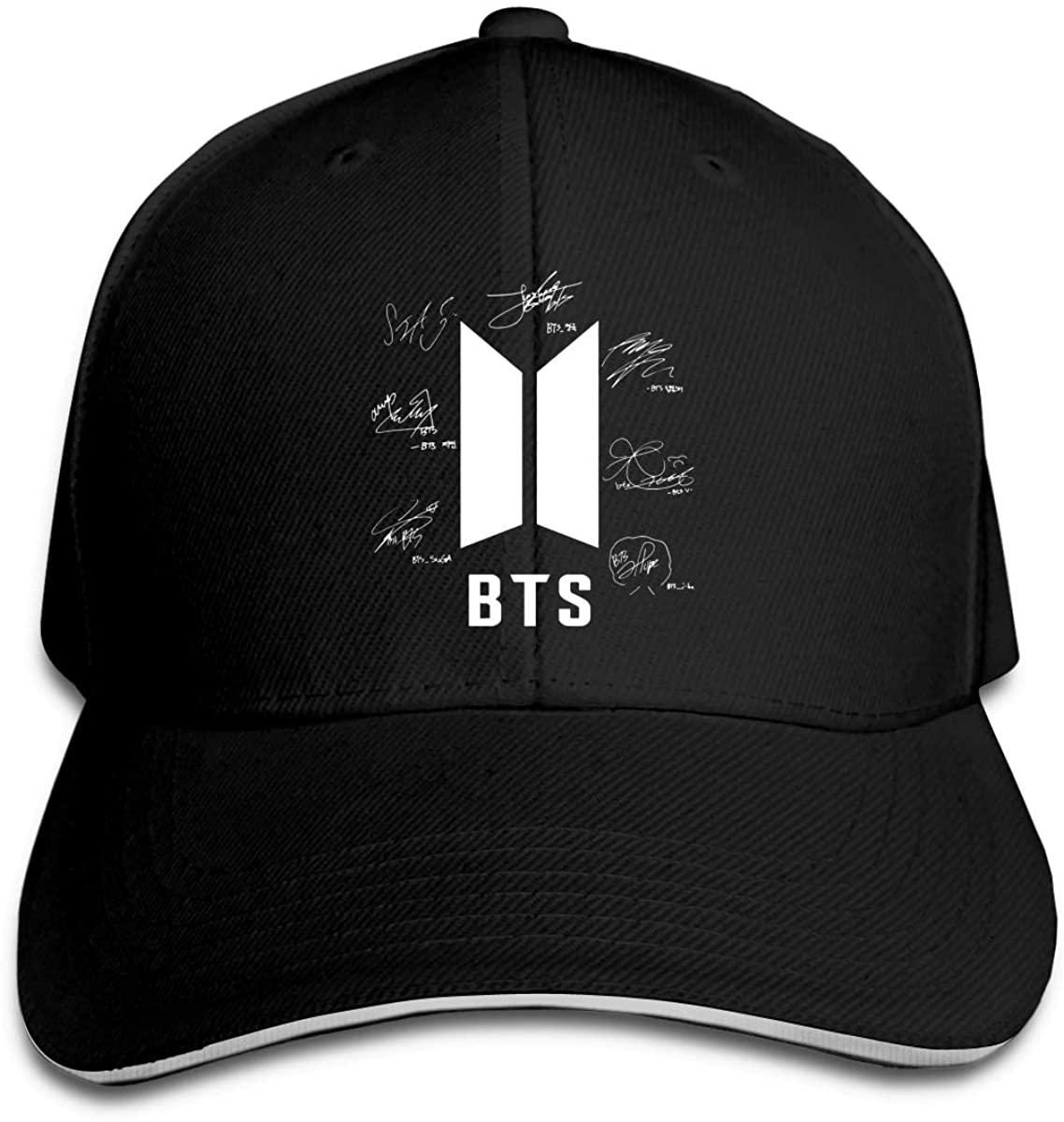 Frftgxcdf BTS-Bangtan Boys Autograph Unisex Adjustable Hat Black