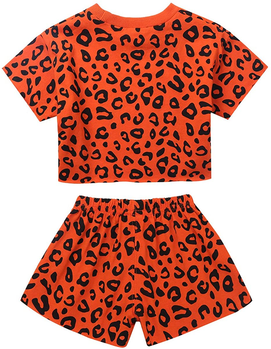 Freebily Toddler Baby Girls Leopard Print Short Sleeves T-Shirt with Short Outfit Kids Two Pieces Summer Clothes Set
