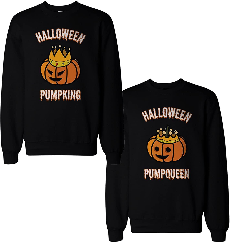365 Printing Halloween PumpKing and PumpQueen Matching Couple Sweatshirts