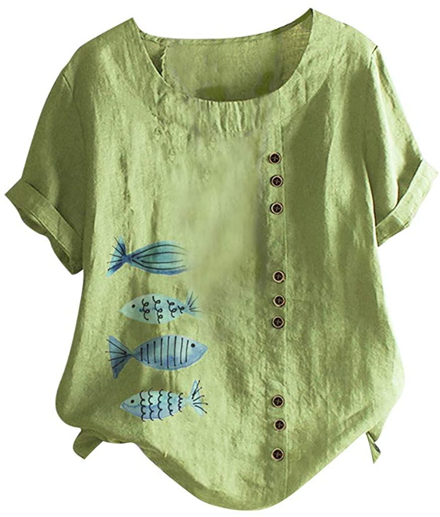 ZSBAYU Linen Shirts Blouse Oversized Women Summer Casual Print Buttons O-Neck Short Sleeve Tops Loose Tunic T-Shirt