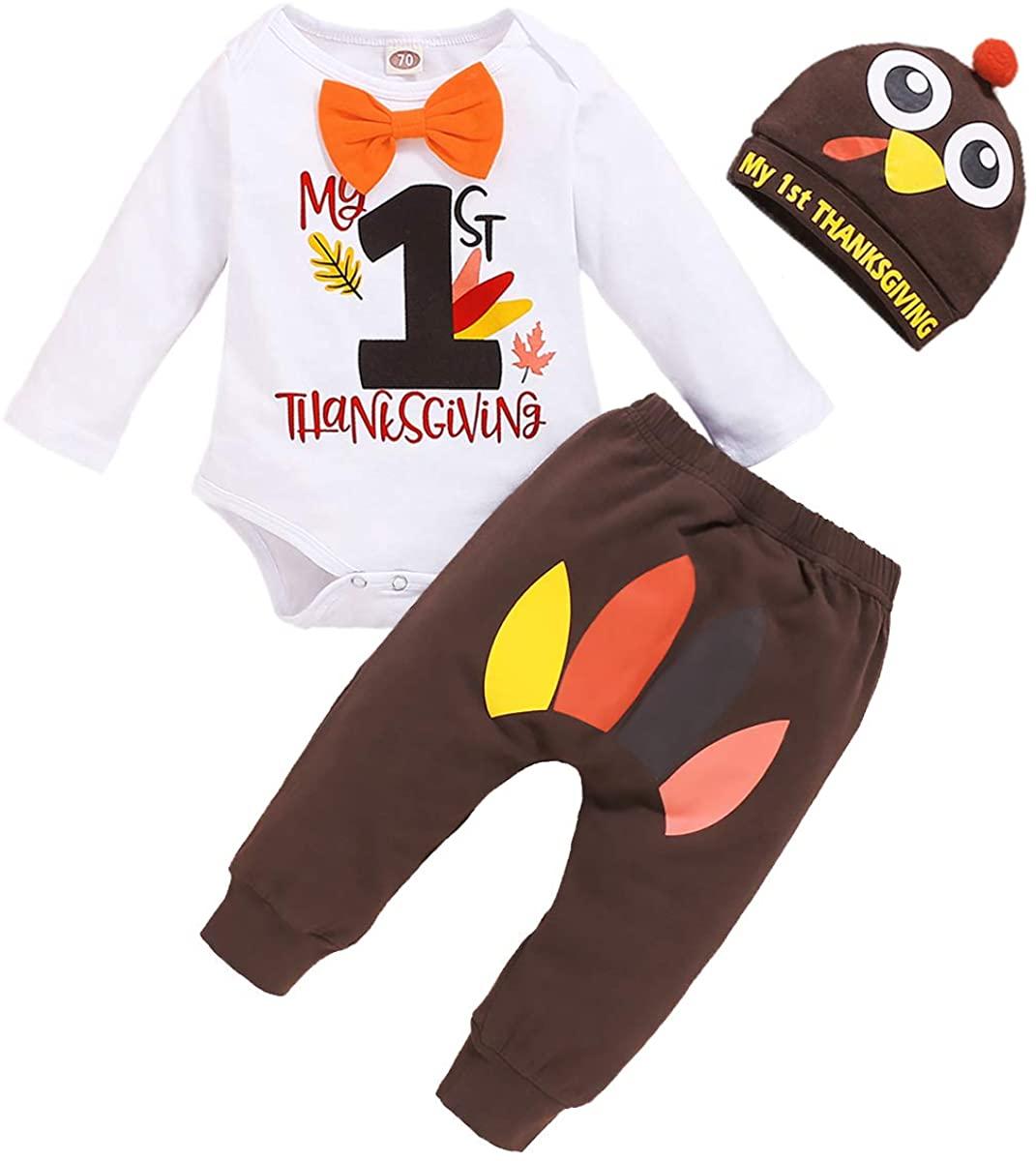 Newborn Baby Boy 1st Thanksgiving Pant Set T-Shirt Romper+Long Pants+Turkey Hat 3PCS Outfits