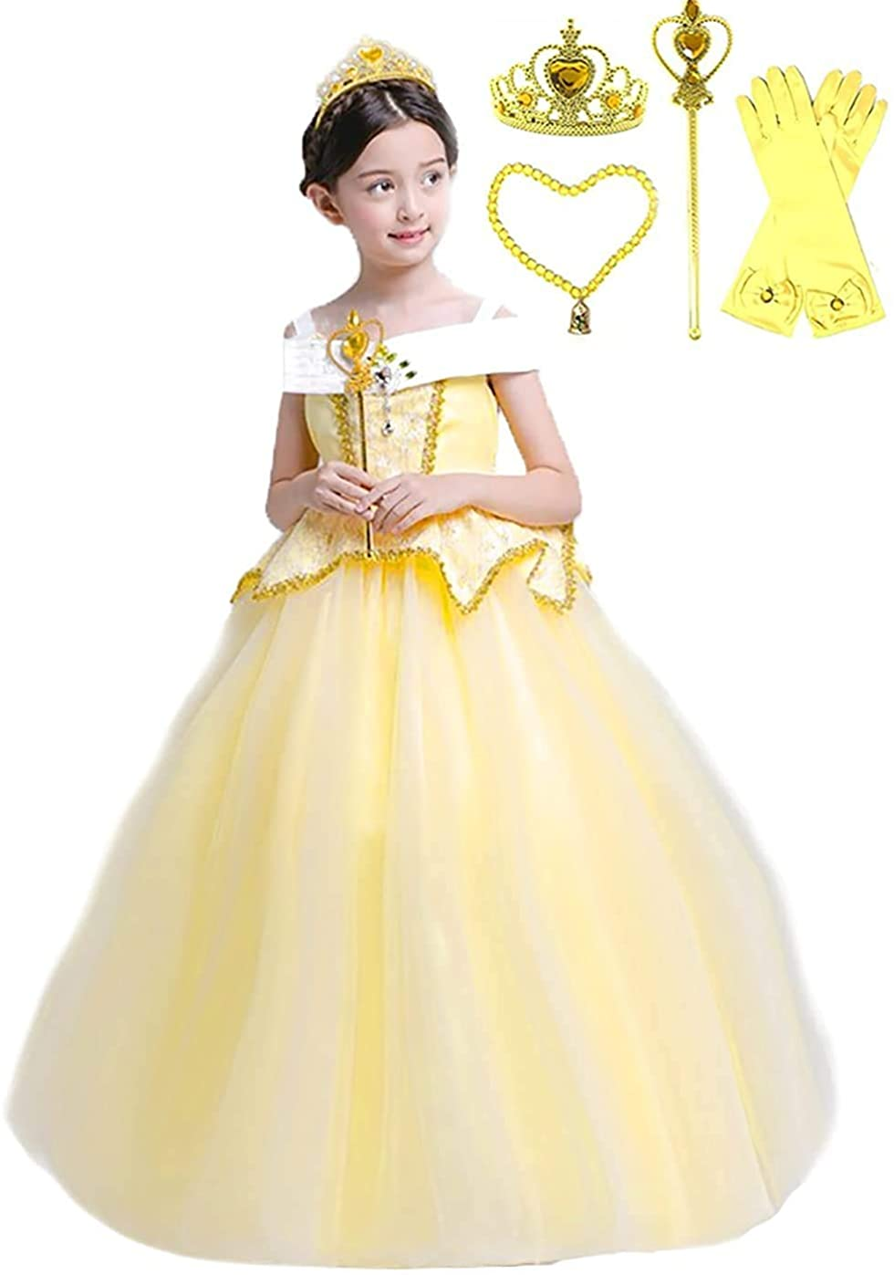 Romy's Collection Elegant Belle Yellow Party Princess Costume Dress Up Set (6-7, Yellow)