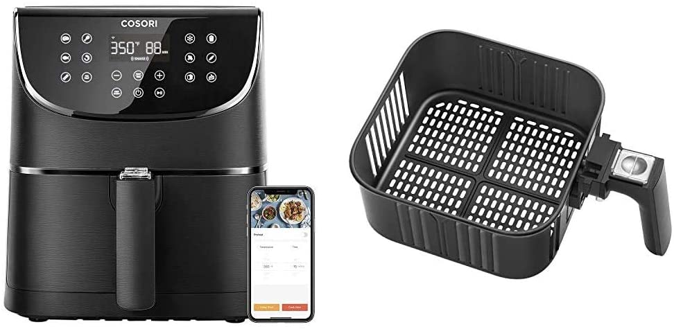 COSORI Smart WiFi Air Fryer 5.8QT(100 Recipes), 1700-Watt Programmable Base for Air Frying & Air Fryer Replacement Basket 5.8QT For COSORI Black CP158-AF, CS158 & CO158 Air Fryers