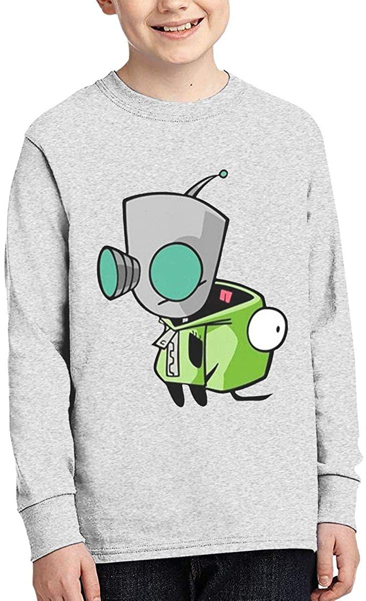 Boy Girl Teen Long Sleeve T-Shirt Invader Zim Gir Doom Logo Exquisite Fashion Creation Gray