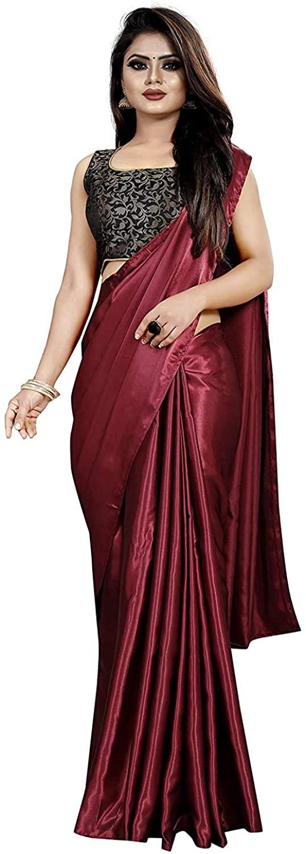 kfgroup Women's Satin Silk Shiny Glamourous Draped Saree with Brocade Blouse