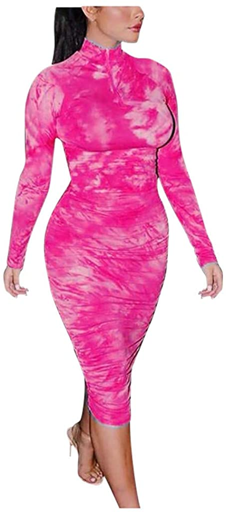 Women's Tie-dye Bodycon Dress Short Sleeve Zipper Ruched Sexy Club Party Summer Dresses