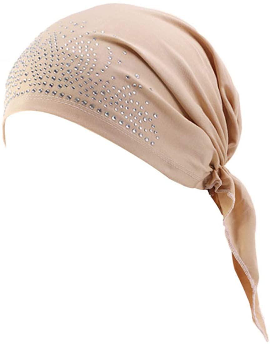Qhome Womens Rhinestone Head Scarf Head Wrap Chemo Cap Spandex Bandana Du Rag