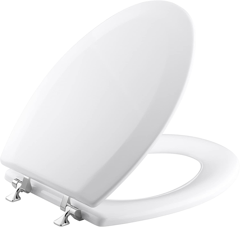 KOHLER K-4722-T-0 Triko Elongated Molded-Wood Toilet Seat with Polished Chrome Hinges, White