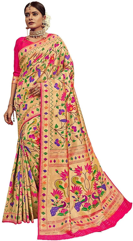 Saree for Women Bollywood Wedding Designer Banarasi Silk Sari with Unstitched Blouse.