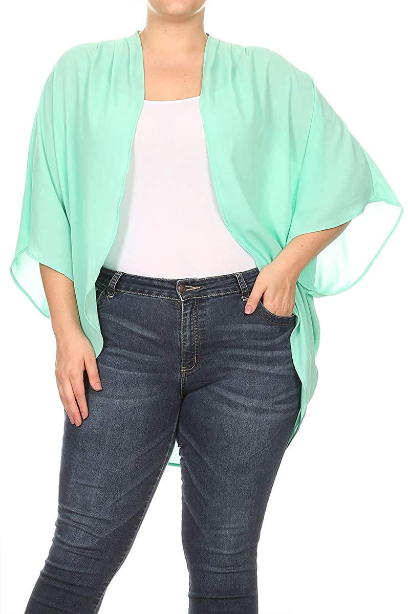 Women's Plus Size Solid Dolman Sleeve Draped Open Front Chiffon Cardigan/Made in USA