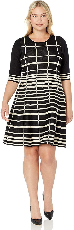 Gabby Skye Women's Plus Size Elbow Sleeve Scoop Neck Fit & Flare Sweater Dress