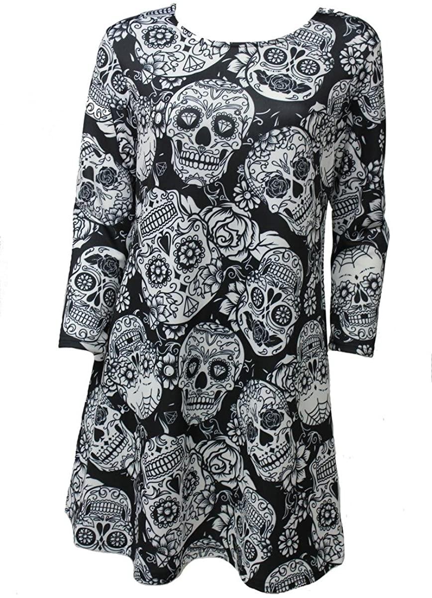 Girl Talk Clothing Womens Plus Size Sugar Skull Halloween Smock Swing Dress