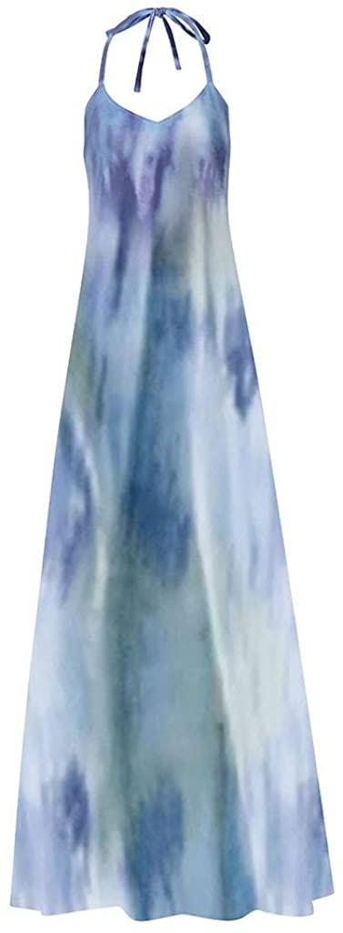 LEKODE Women Skirt Tie-dye Print Fashion Casual V-Neck Long Dress