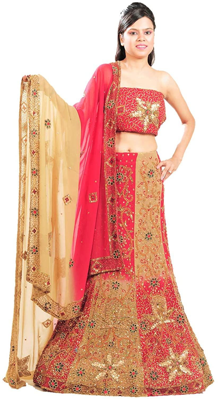 Indian Women Designer Partywear Ethnic Traditional Red & Beige Lehenga Choli.