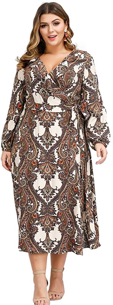 Love is Lovely Women's Plus Size Paisley Pattern Ruffle Deep V-Neck 3/4 Sleeves Midi Dress