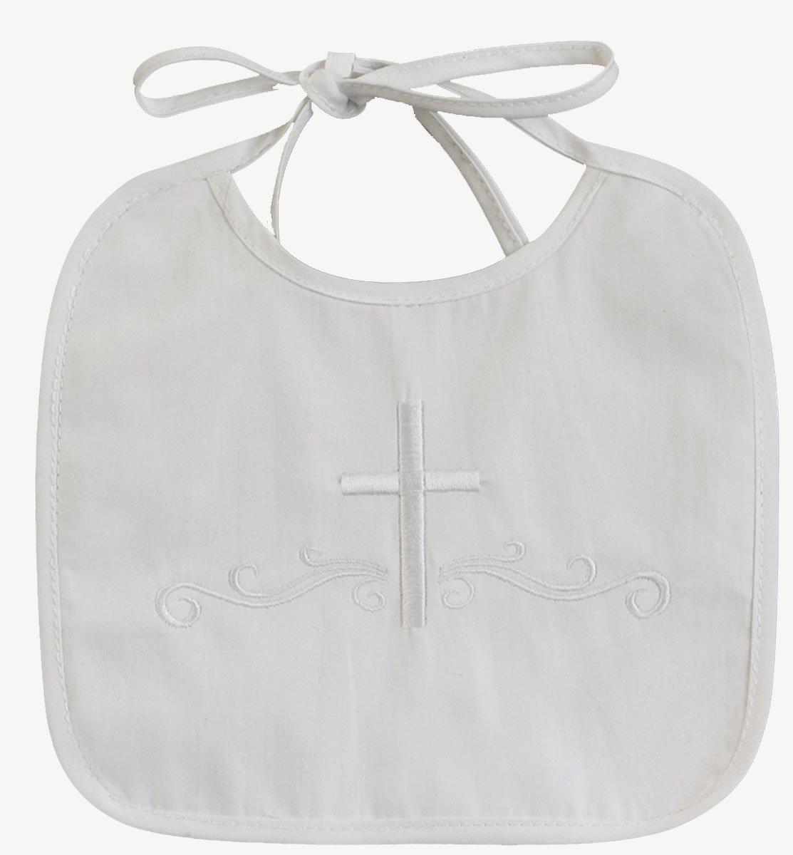Lito White Embroidered Cotton Christening Baptism Boy's Bib, one size