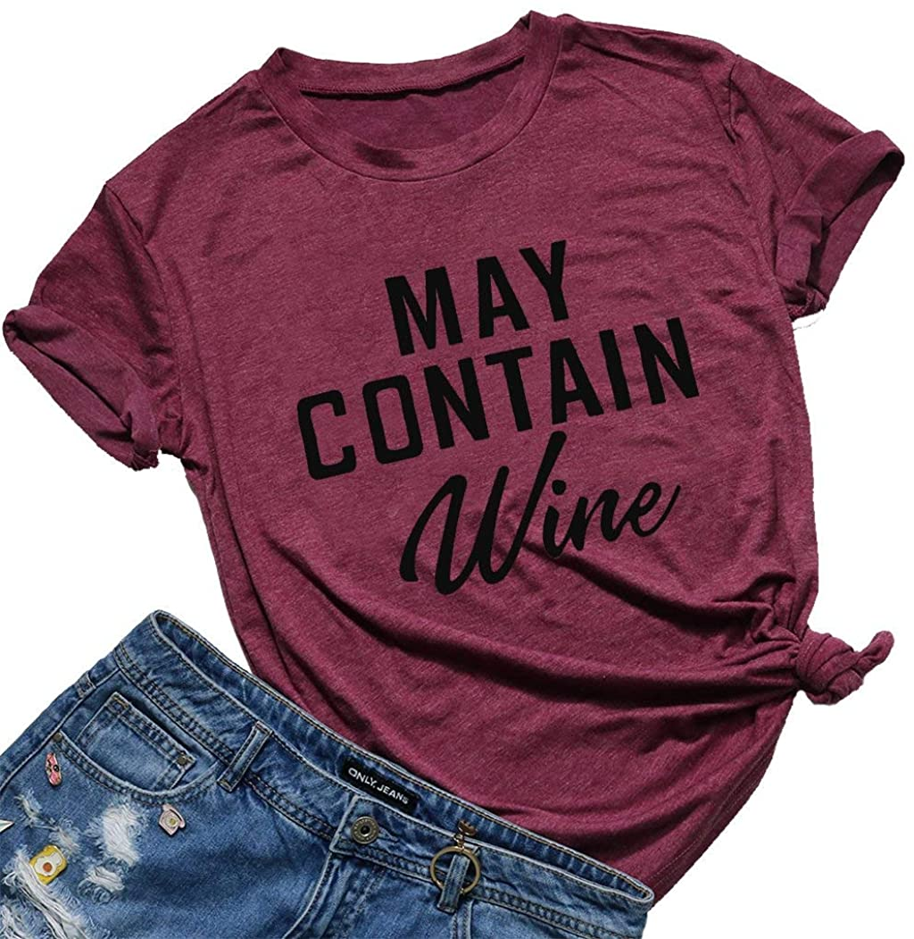 May Contain Wine T Shirt Alcohol Tees Tops Womens Letter Print Shirt Funny Drinking Shirt Casual Short Sleeve Graphic T-Shirt