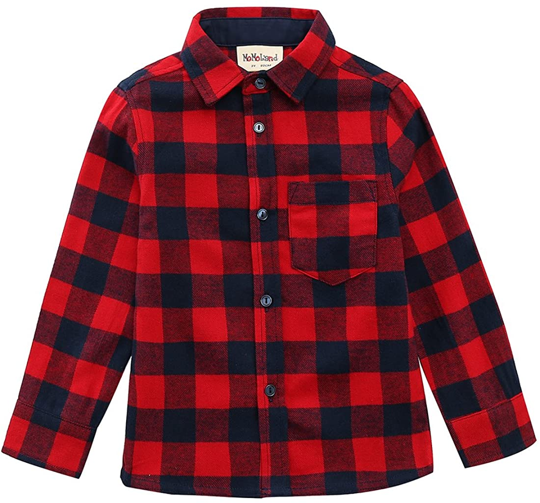 MOMOLAND Baby Toddler Boys Long Sleeve Button Down Plaid Flannel Shirt Red