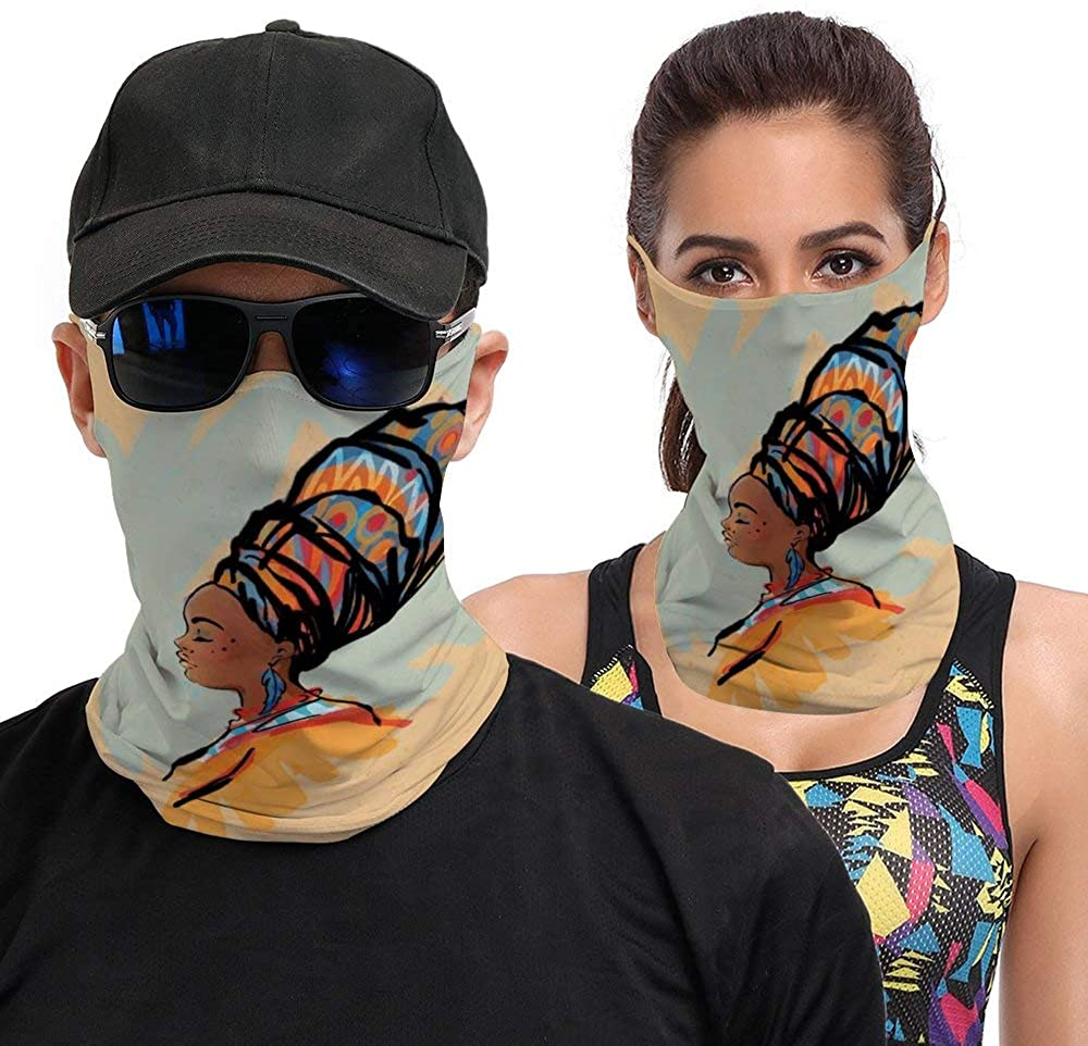Watercolor Profile Portrait of Native Woman with Ethnic Hairdo And Earrings Theme Seamless Face Cover Mouth Mask Bandana Neck Gaiter Cool Lightweight