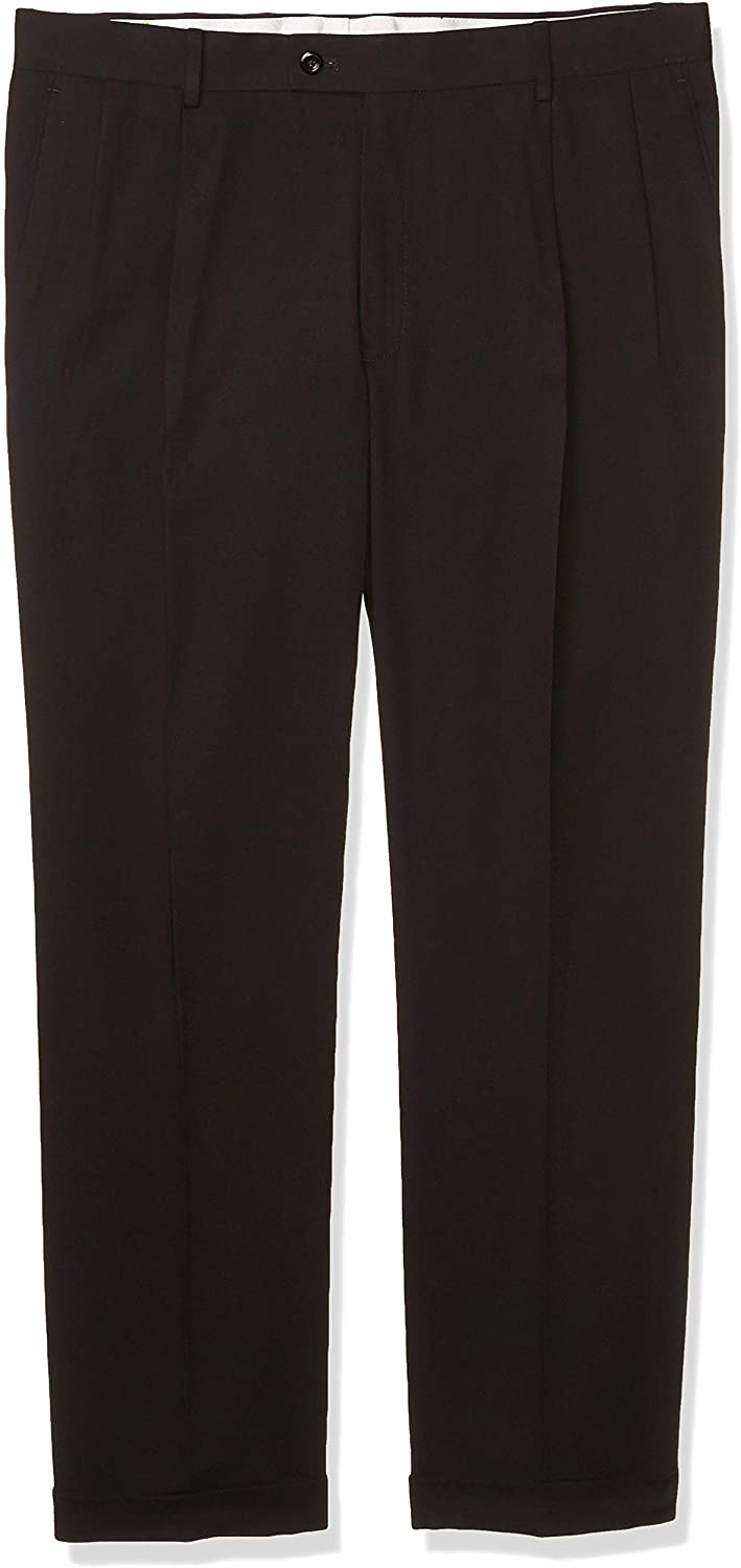 Louis Raphael Men's Pleated Gabardine Solid Dress Pant,Black,36X32