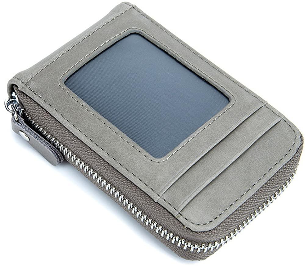 Aladin RFID Blocking Genuine Leather Mini Credit Card Case Organizer Compact Wallet with ID Window