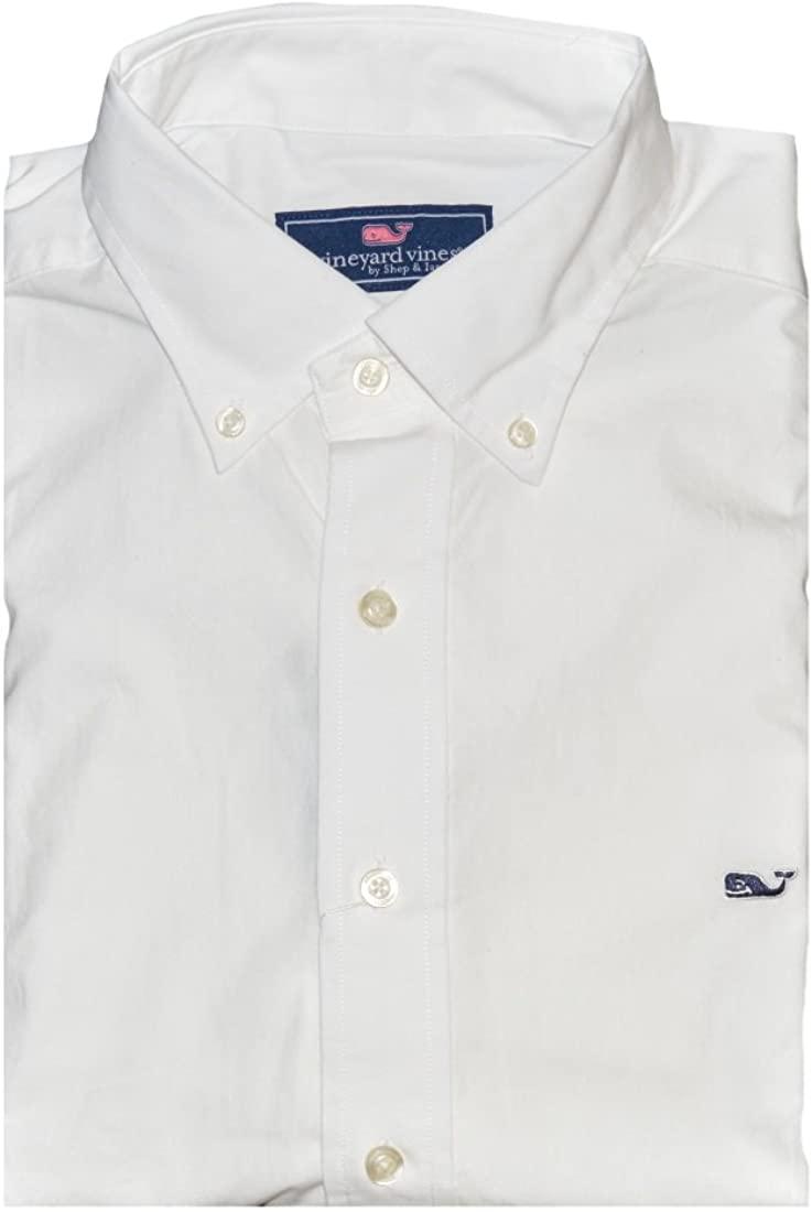 Vineyard Vines Men's Slim Fit Whale Oxford Shirt (White Cap, Small)