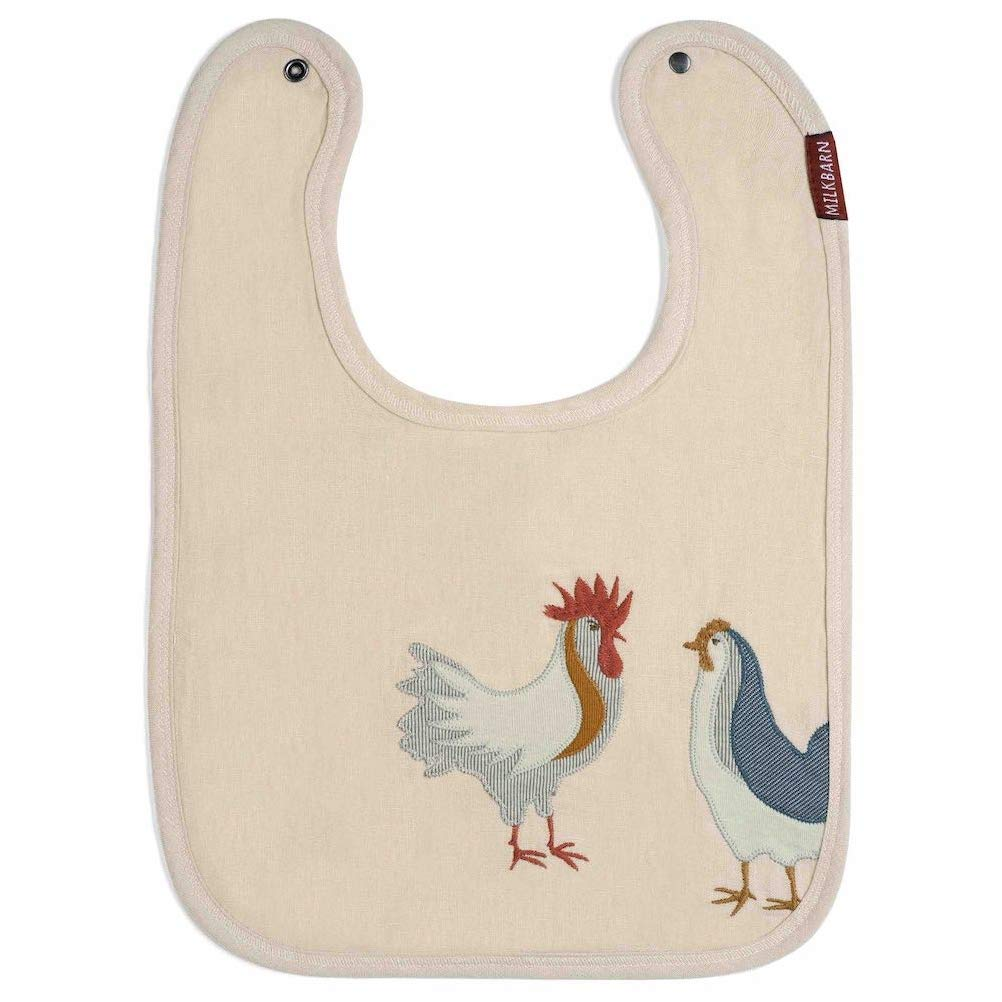Milkbarn Applique Linen Baby Bib, Animal Designs (Chicken)