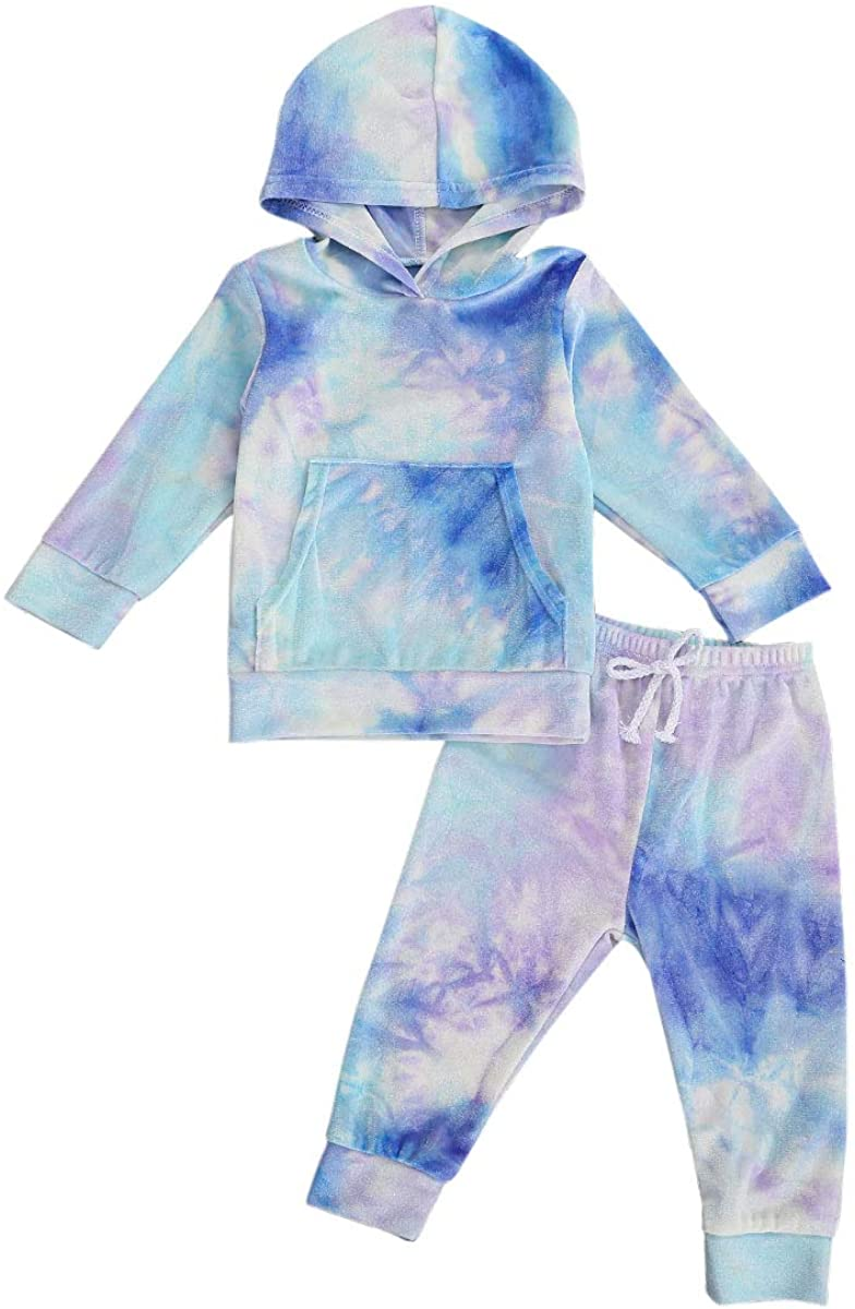 1-6Y Toddler Baby Tie Dye Outfits Kids Hoodie Top Shirt+Sweatpants Velvet Tracksuit 2 PCS Set
