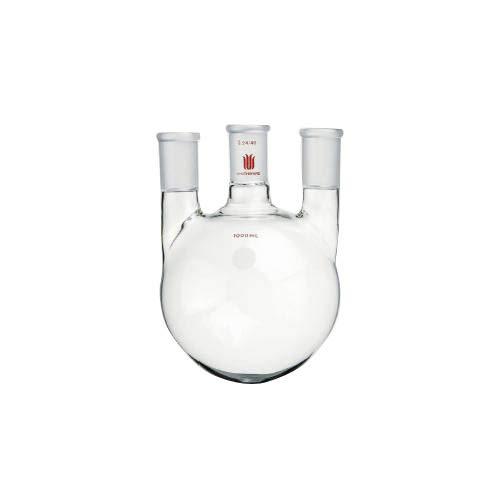 Kemtech F444000 Synthware 3-Neck Flask, Round Bottom, Vertical, 24/40 Center/Side Joint, 1 L