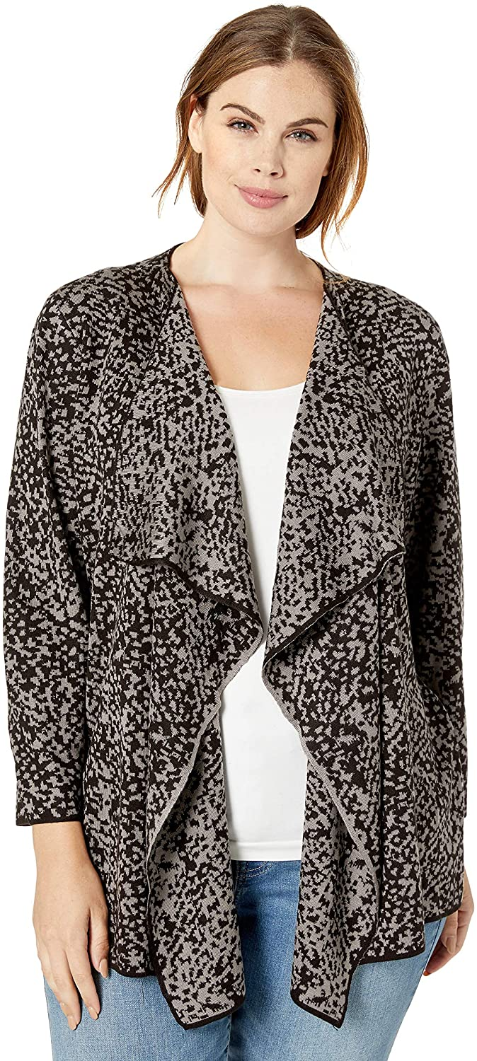 Kasper Women's Plus Size Snake Jacquard 3/4 Sleeve Short Cardigan with Side Slits