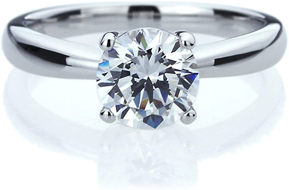 Platinum Plated Sterling Silver Ring 1.25 carat Round CZ Stone Classic Solitaire Wedding Engagement Ring (Size 5 to 9)