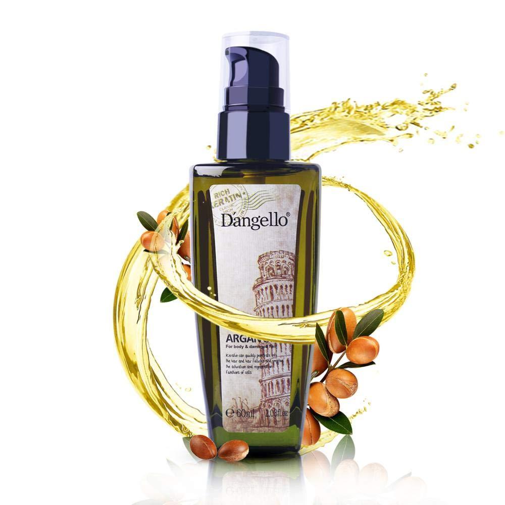 Argan Oil Dangello Pure Moroccan Oil Essential Oils Hair Serum Conditioner for Hair Skin and Nails Treatment Rich in Anti-Aging Vitamin E 60ml
