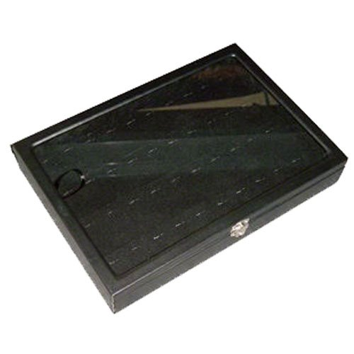 Glass Top Ring/Pendant Display Tray, Black Leatherette