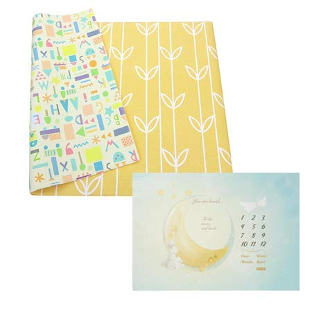 Product Image Baby Care Play Mat - Haute Collection (Large, Sea Petals - Yellow) &Milestone Mat - Reach for The Moon and Stars