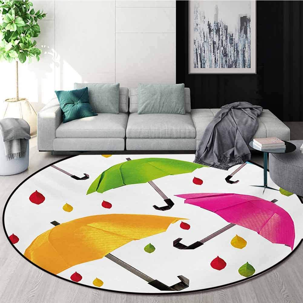 Colorful Modern Machine Washable Round Bath Mat,Several Sized Umbrella Motif with Leaf Droplets Water Climate Security Design Non-Slip Living Room Soft Floor Mat,Diameter-31 Inch