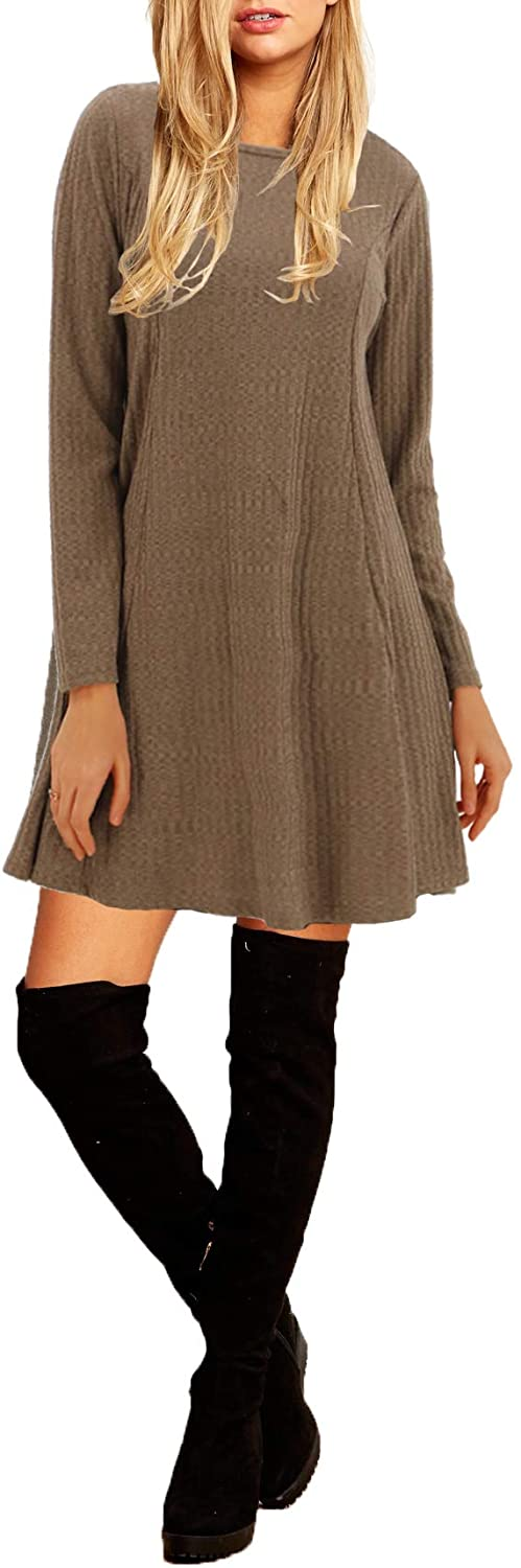 BENANCY Women's Long Sleeve Causal Loose Rib Knit Swing T-Shirt Dress