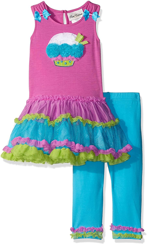 Rare Editions Baby Girls' Cupcake Applique Tutu Legging Set