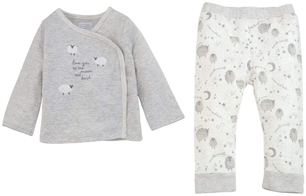 Mud Pie Kids Counting Sheep Sheep 2 Piece Set Gray, 6-9 Months