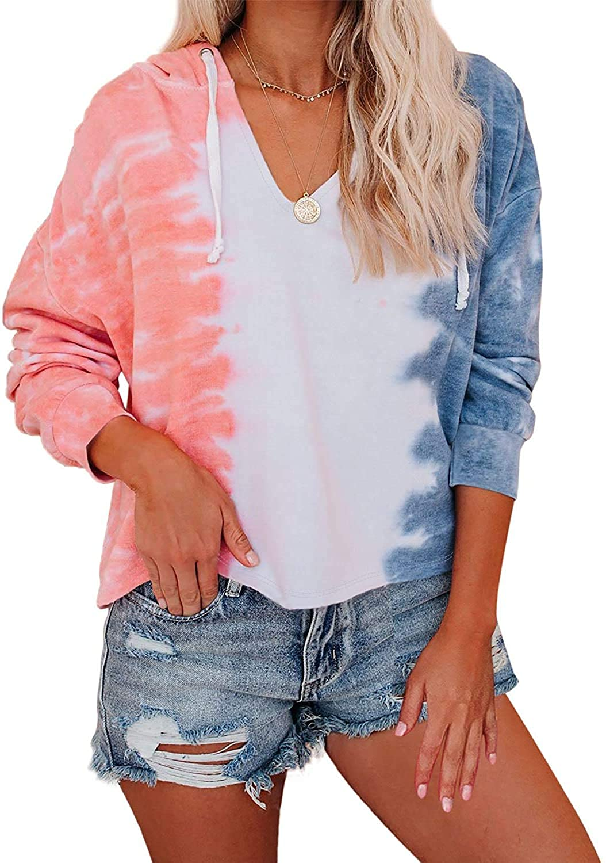 Womens Lightweight Tie Dye Hoodie Sweatshirt Long Sleeve V Neck Drawstring Hooded Pullover Tops Shirt