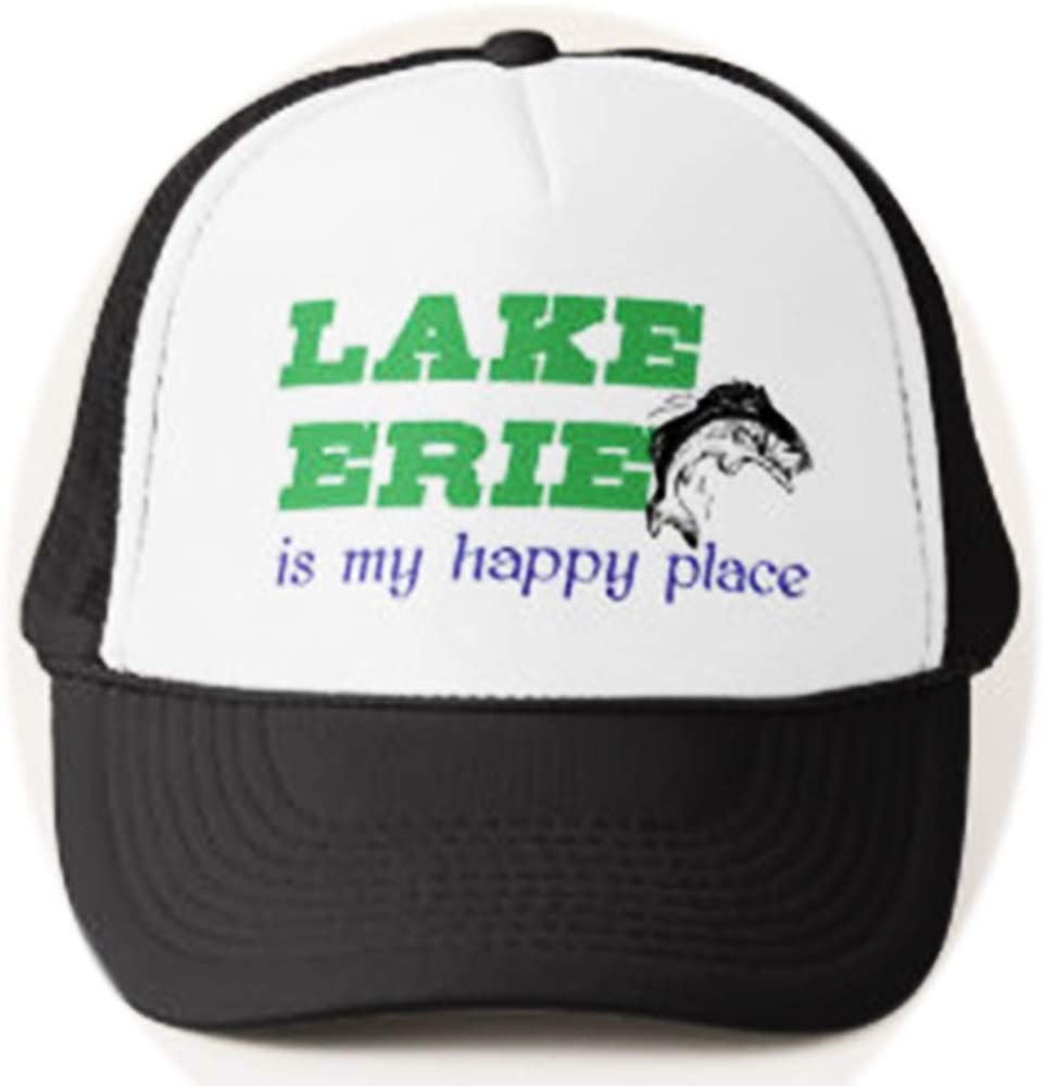 Funny Lake Erie is My Happy Place Rainbow Trout Walleye Fish Fishing Fisherman Adjustable Mesh Trucker Hat Baseball Cap