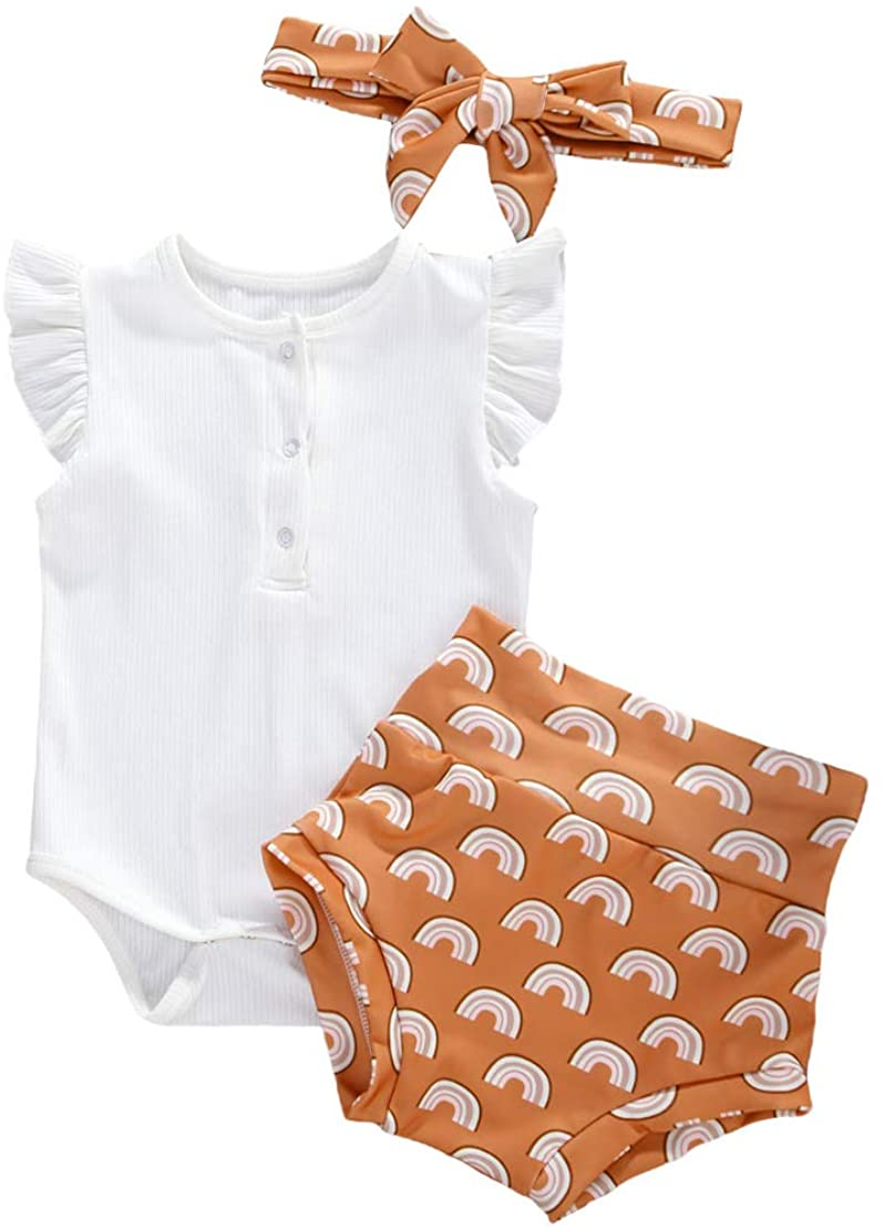 3Pcs Toddler Baby Girl Solid Color Knitted Ruffle Sleeve Button Romper+Print Shorts+Headband Outfit Set Summer Clothes