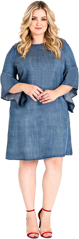 Standards & Practices Plus Size Women's Flounce Flare Sleeve Denim Shift Dress